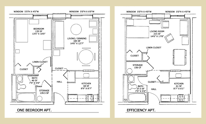 One Bedroom Efficiency Apartment Plans plans